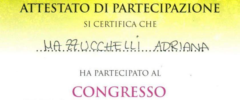 Attestato Partecipazione Congresso Adriana Mazzucchelli News